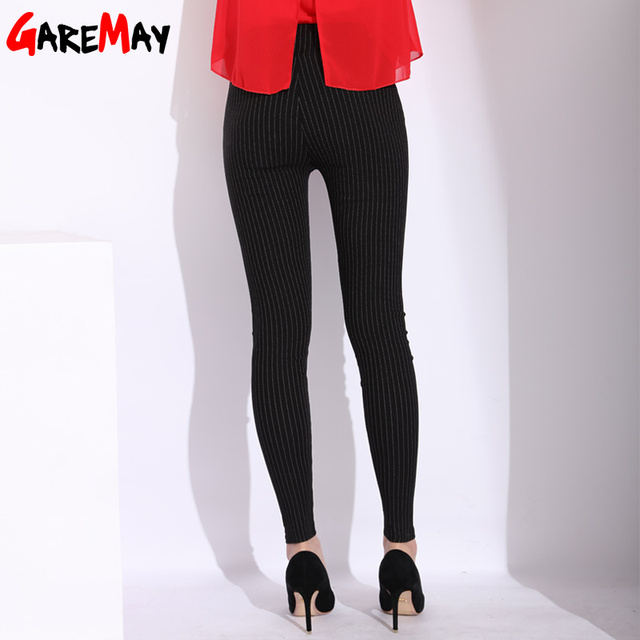 Casual Striped Skinny Pants Women Elastic Waist Female Pencil Pants High Waist Stretch Black White Stripe Pant Pantalon Femme