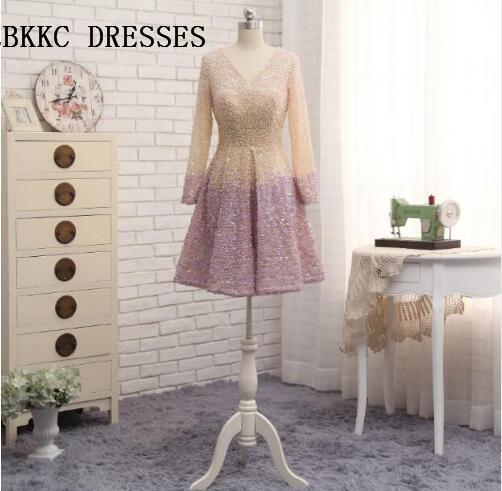Long Sleeves V Neck   Cocktail     Dresses   With Full Beading Knee Length Vestido Corto De Tull Formal Prom Gwon