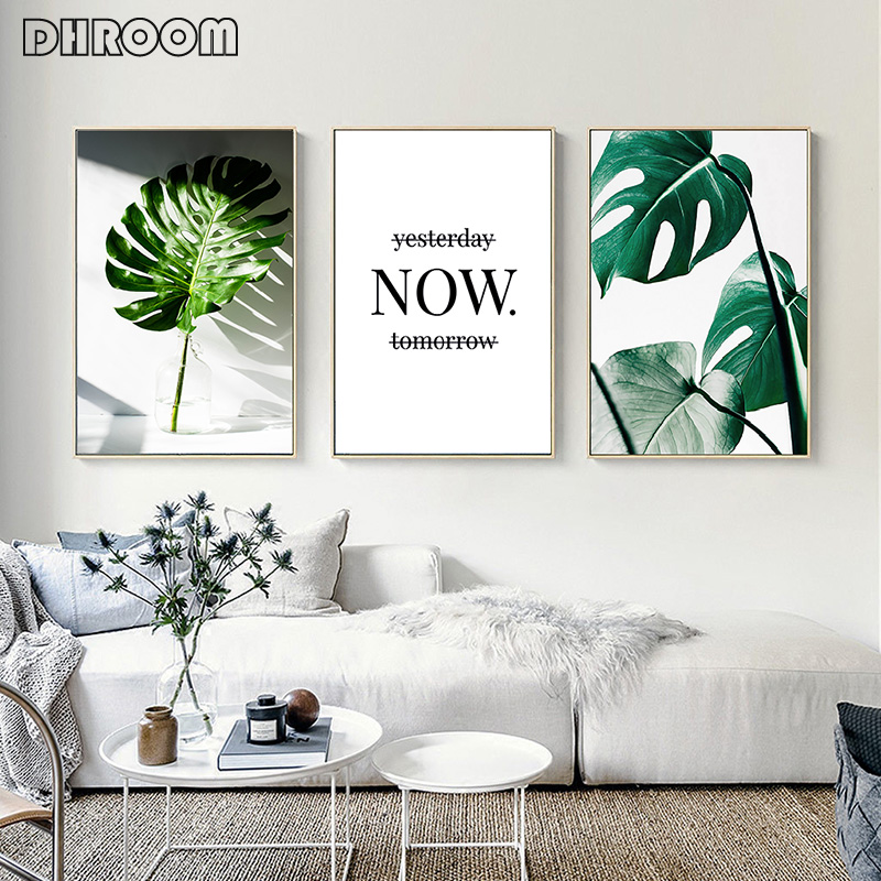DHROOM Nordic Canvas Painting Modern Prints Plant Leaf Art Posters Prints Green Art Wall Pictures Living Room Unframed Poster