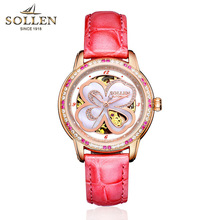 SOLLEN brand Flowers Women Watches New casual Waterproof Wristwatch red ruby Automatic Mechanical Ladies Watch montres