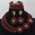 2016 new Wine Red 2 Rows Crystal Beads Jewelry Set Nigerian African Wedding Women Bridal Necklace Set Free Shipping ALJ921