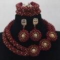 2016 nuevo Vino Rojo 2 Filas Granos Cristalinos de La Joyería Nigeriano Boda Africana Mujeres Collar Nupcial Conjunto Envío Gratis ALJ921