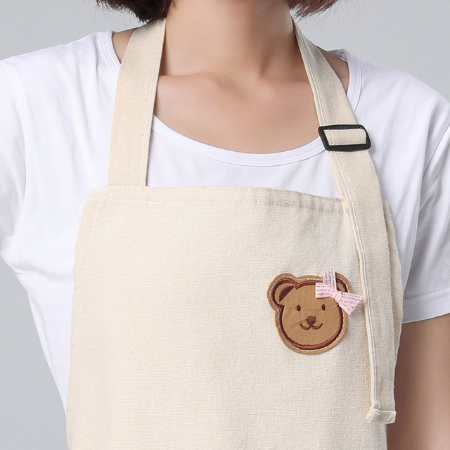 Kitchen Aprons – Stripes and Cute Accent Bear, Cotton