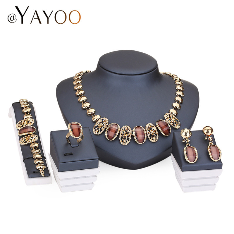 AYAYOO Necklace Ring Bracelet Earrings Gold Color Fine Jewelry Set For Women Bridal Imitation Crystal Wedding Dress Accessories