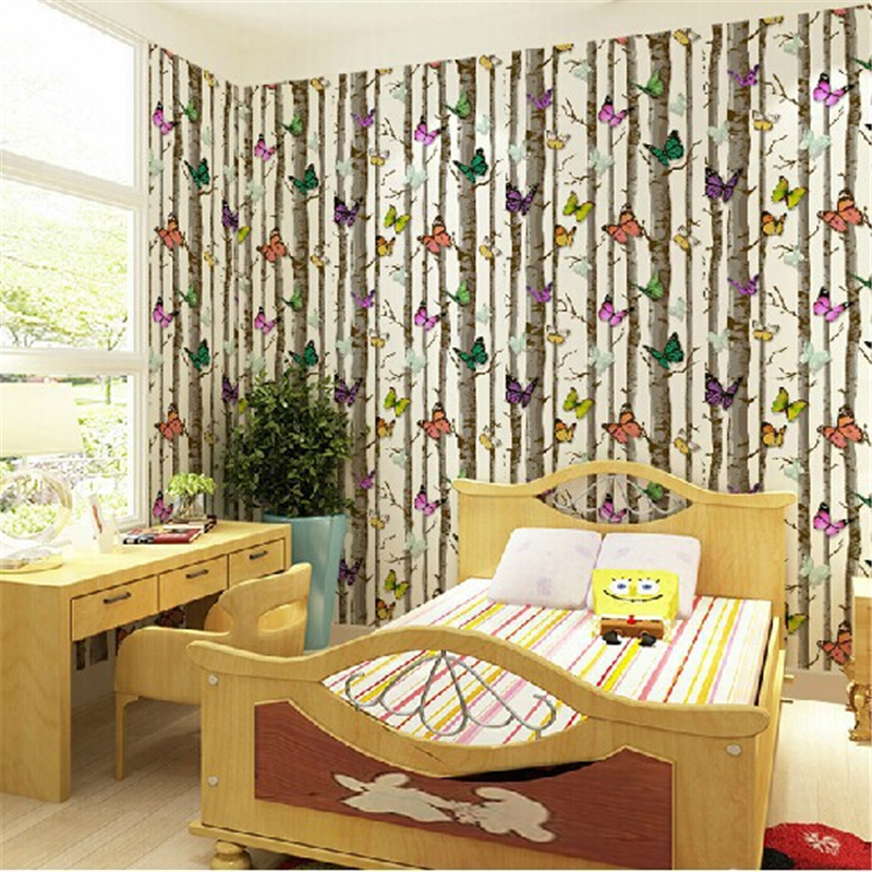 beibehang of wall paper PVC Modern Pastoral Wallpaper roll Woods Butterfly Wall Paper Roll papel de parede photo murals non woven bubble butterfly wallpaper design modern pastoral flock 3d circle wall paper for living room background walls 10m roll