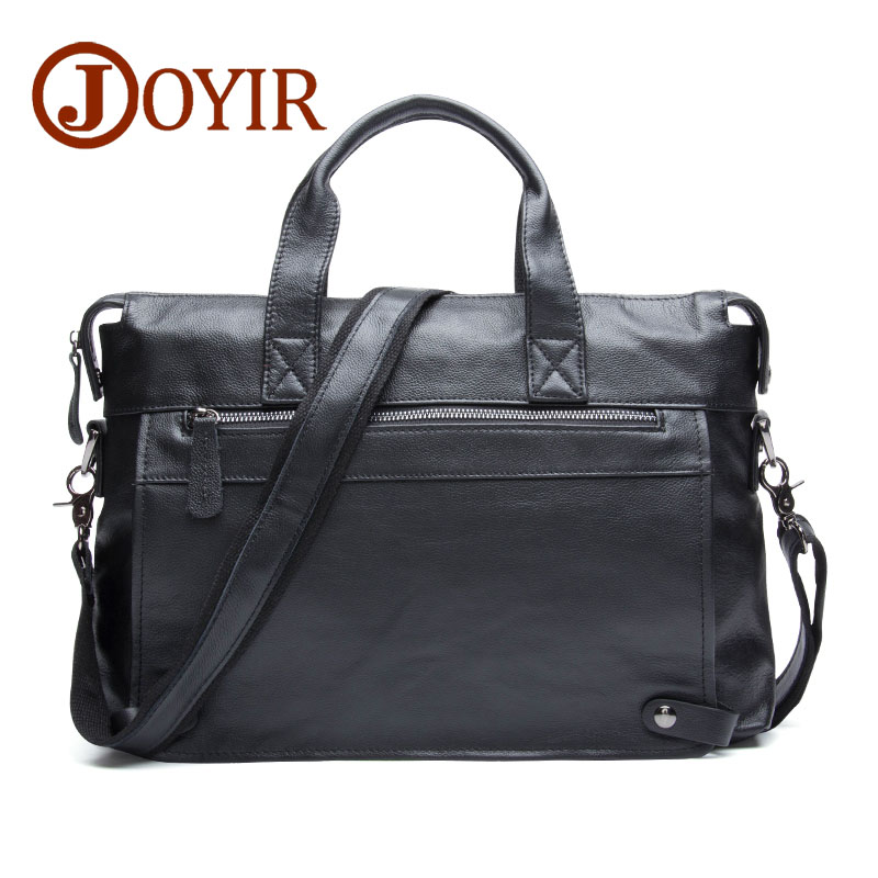 "JOYIR Men Briefcases Genuine Leather Business Briefcase 15"" Laptop Messenger Bag Male Crossboby Shoulder Bags Handbags For Man-in Briefcases from Luggage & Bags    1"