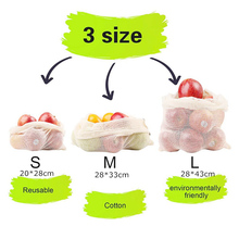 Reusable Mesh Produce Bags 100% Organic Cotton Mesh Vegetable Bags Eco-friendly Bio-degradable&Washable 3pcs Mesh Produce Bags