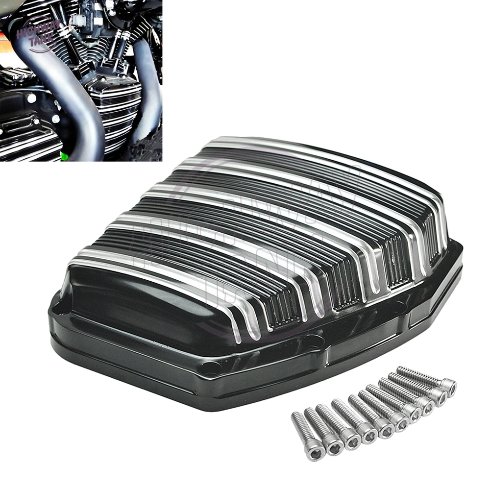 CNC Aluminum Deep Cut Black Motorcycle Cam Cover Case for Harley Twin Cam Touring Electra Glide FLHTC 2001-2017 rsd motorcycle 5 hole beveled derby cover aluminum for harley touring flh t 2016 2017 for flhtcul and flhtkl 2015 2016 2017
