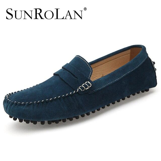 c28ac8a67 SUNROLAN Mocassins Dos Homens de Moda Plus Size 12 13 Homens Sapatos  Moccasines Casuais Hombre Masculino