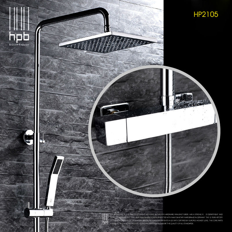 HPB Brass Thermostatic Bathroom Hot And Cold Water Mixer Bath Shower Set Faucet torneira banheiro  Shower Head HP2105 hpb brass chrome finished thermostatic faucet bathroom shower faucets wall mounted bathtub mixer bath set fashion style hp5201