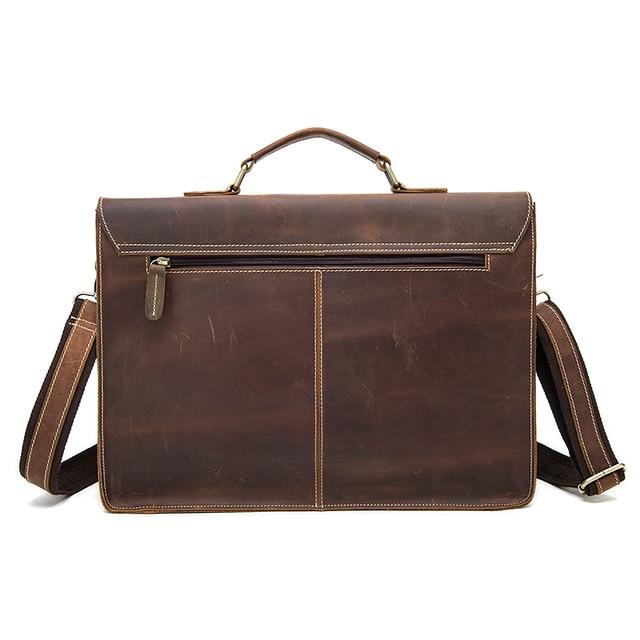 Westal negócios maletas saco masculino para advogado vintage cavalo louco couro portátil pastas saco 14 polegada escritório/documento sacos 1