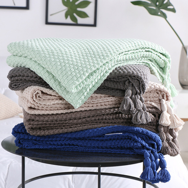 Plaid Knitted Blanket Cover Throw Koc For Sofa Bed Aircondition Rugs