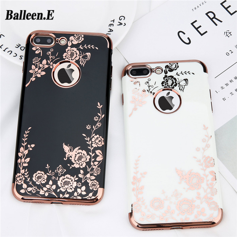 Balleen.E Case For iPhone X 7 6 6s Plus Fashion Plating Rose Gold Black White Hard PC Phone Cases Back Cover For iPhone 7 Plus