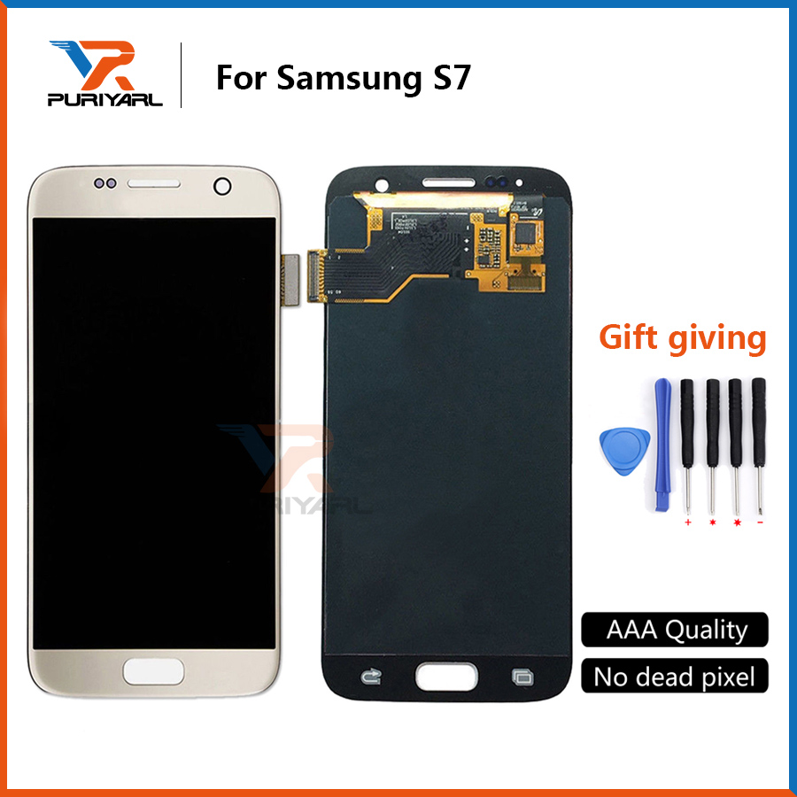 5pcs 100% Tested Super AMOLED Original LCD Screen For Samsung <font><b>Galaxy</b></font> <font><b>S7</b></font> G930 <font><b>G930F</b></font> <font><b>Display</b></font> Digitizer Assembly Free Shipping image