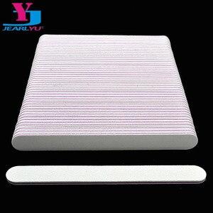 Image 1 - 100Pcs מקצועי לבן פצירה הצפת מרוט 100/180 UV ג ל לטש נייר זכוכית מניקור פדיקור ציפורניים מניקור אמנות כלים