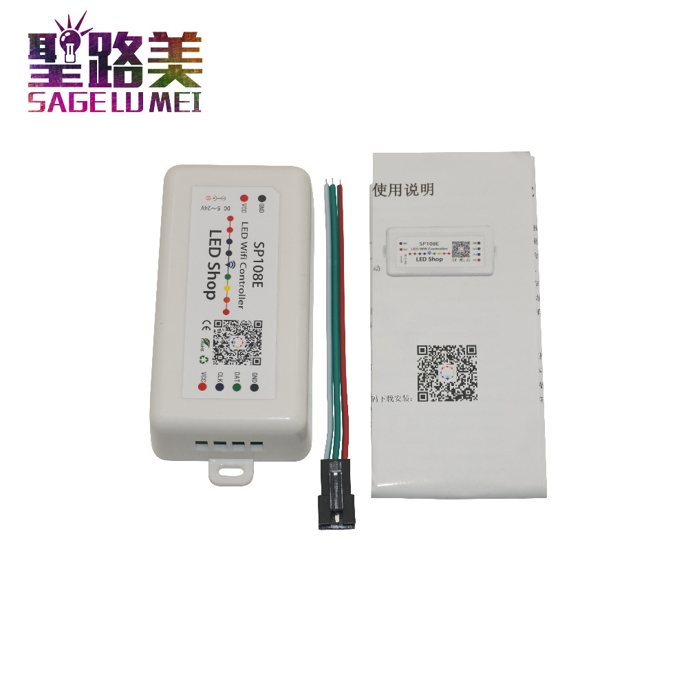 DC 5V 12V 24V SP108E LED SPI pixel WIFI Controller by smart phone APP For WS2811 WS2812B WS2813 APA102 LED Strip Light Tape image