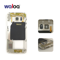 WOJOQ For Samsung S6 G920 G920F Middle Frame Bezel Housing Chassis With Back Camera Glass Lens