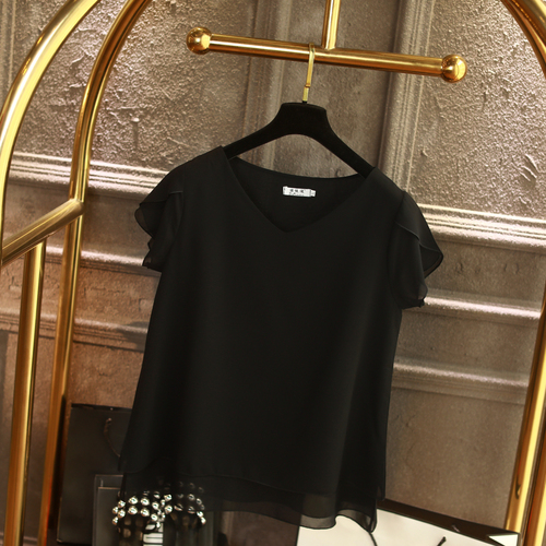 100% Original Women Chiffon Shirt 2019 Summer Short sleeve V-neck Blouse Casual 9 Solid color Loose Oversized Lady Tops 11