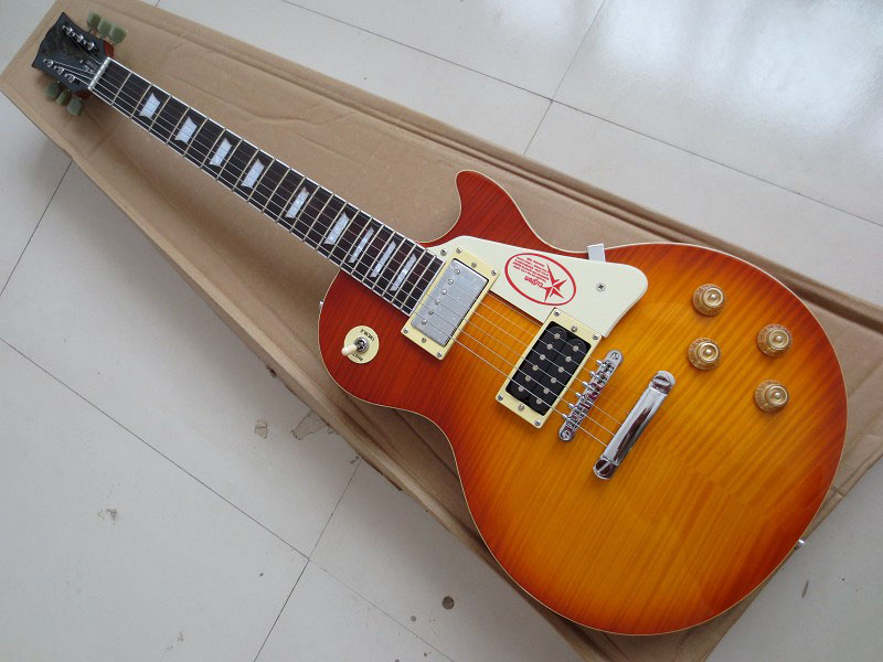 Factory wholesale Top quality Custom Shop LP Standard Cherry Sunburst VOS Electric Guitar Free Shipping 0810