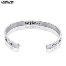 Stainless Steel Personalized Cuff Bracelet be fierce Quote Scripture Bangle Mens Womens Inspire Inspirational Gift Mantra Band