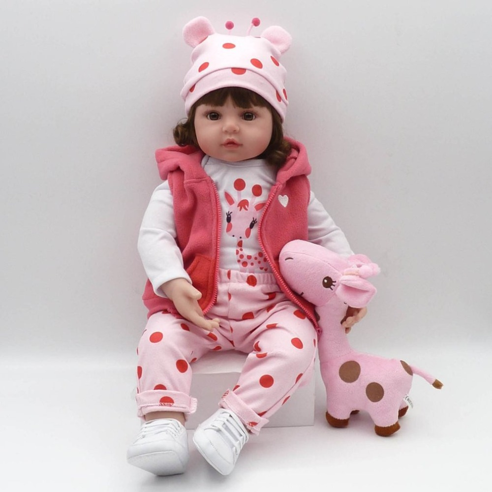 55cm Silicone Reborn Baby Doll With Giraffe Plush Toy Lovely Imitation Baby Play House Doll Toys For Girl Children Best Gift