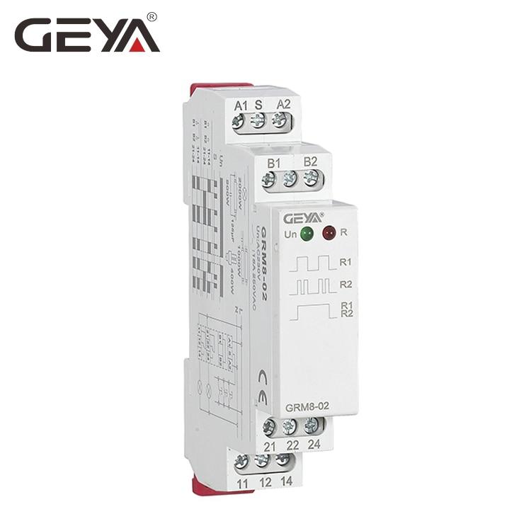 Envío Gratis GEYA GRM8 carril Din electrónica relé de enclavamiento de memoria de impulso de relé SPDT 16A paso de AC230V o AC/ DC12-240V