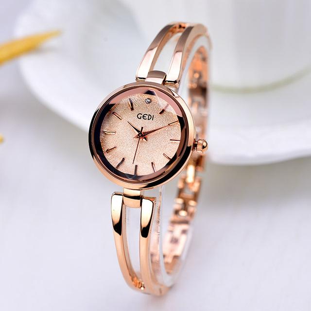 Fashionable Lady's Bracelet Quartz Satch Stainless Steel Rose Gold Female Wristwatch personality Women Watch Dress Watch Gift