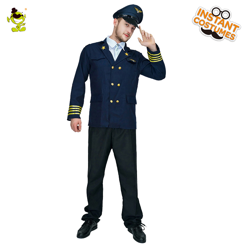 da0d0d8e7 US $26.62 6% OFF|Adult Men's Clothing Pilot Costume Cosplay Halloween Party  Costume Men for Pilot Jacket with Hat-in Holidays Costumes from Novelty &  ...