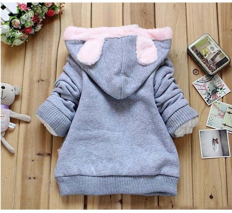 Girls Sweatshirts Hoodies Children Clothing Autumn And Winter Baby girl Thick Cotton Tops Kids Cute Cartoon Rabbit Hooded Coat 9