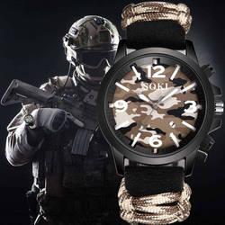 SOKI Mens Watch Nylon Camo Bracelet Outdoor Male Clock Quartz Military Sport Watches Wristwatch quartz-watch Relogio Masculino