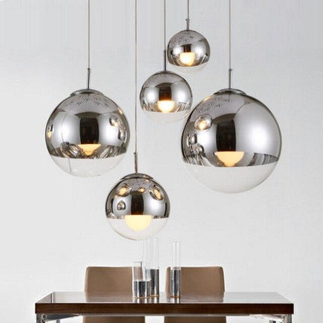 Plateado bola de cristal lámpara colgante moderna colgante de una ...