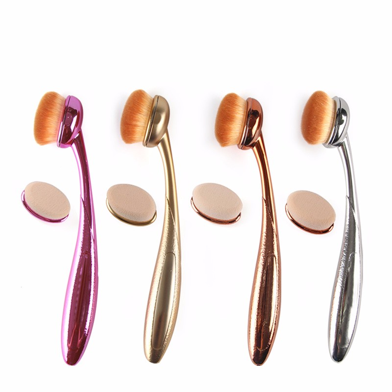 1Pc Power Makeup Brush+1pc changeable Oval Cream Puff Cosmetic Toothbrush foundation brushes Tools Face Powder Blusher