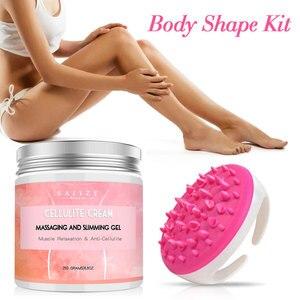 Image 2 - Body Slimming Cream Anti Cellulite Cream Fat Burner Creams+Handheld Bath Shower Full Body Massage Brush