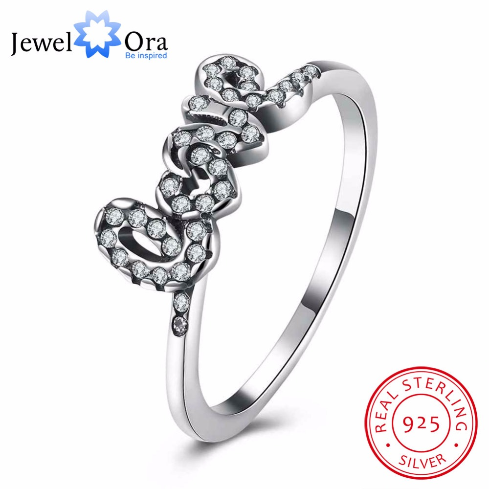 925-Sterling-Silver Ring Engagement Letter Cubic-Zirconia Women Love Jewelora with