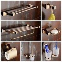 European Rose Gold Single Towel Bar Bathroom Hardware Set Gold Copper PolishedToilet Brush Holder Soap net Bathroom Accessories