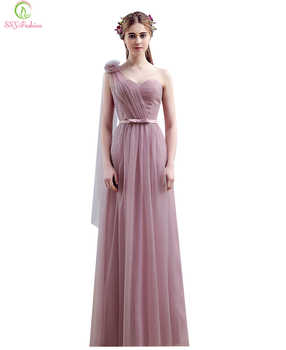 Vestido SSYFashion One Shoulder Floor-length Long Bridesmaid Dresses Birde Simple Formal Party Gown Custom Homecoming Dresses - DISCOUNT ITEM  20% OFF Weddings & Events