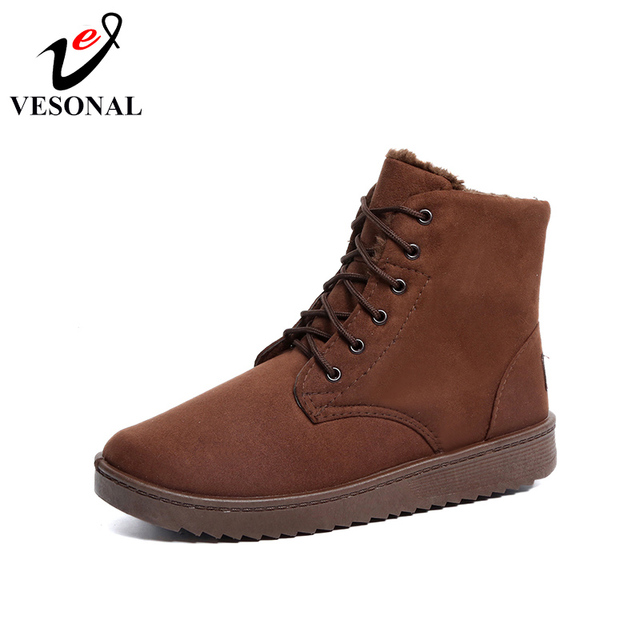 VESONAL 2018 Fashion Flock Warm Fur Winter Snow Boots Male Shoes For Men Adult Rubber Casual Sneakers Footwear Ankle Boots N02