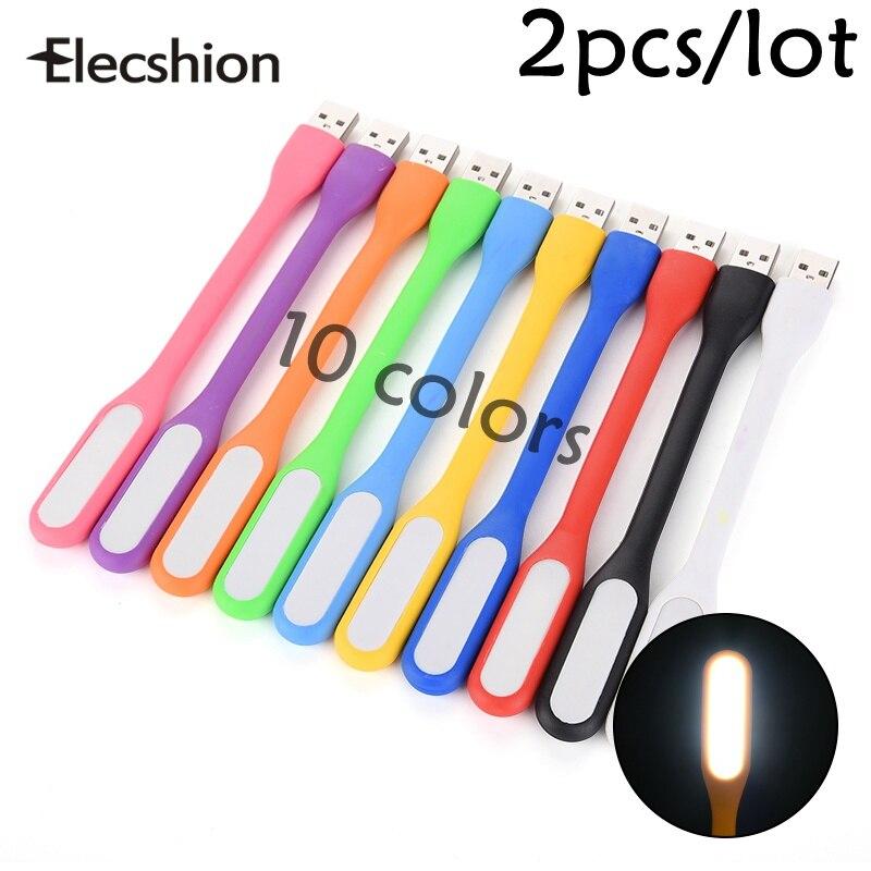 Elecshion USB ночник Мощность банк ПК гибкие Портативный мини для чтения лампы накаливания трубы красочные booklaptops ноутбук