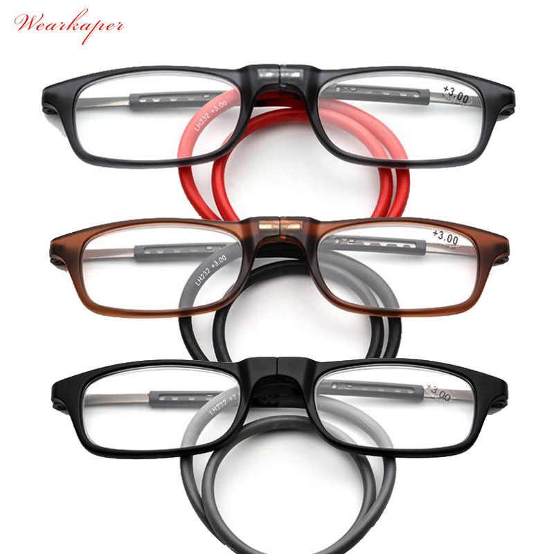 6c7964ae33 WEARKAPER plegable TR90 imán delgada gafas de lectura de las mujeres de los  hombres colgante ajustable