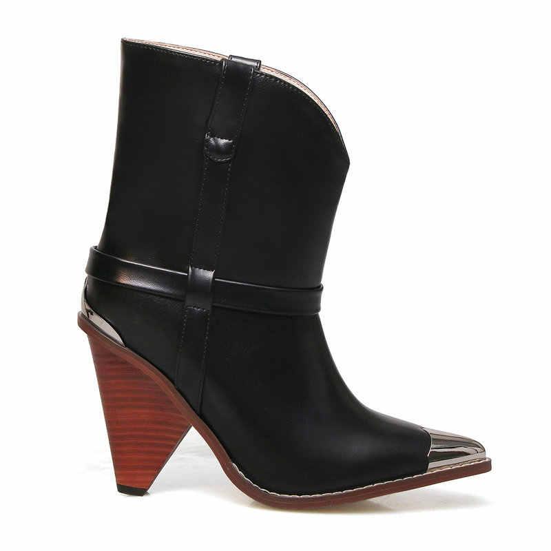 Sarı kırmızı lüks hakiki deri yarım çizmeler Metal sivri burun kovboy çizmeleri kadın moda kama topuk batı çizme sonbahar çizmeler