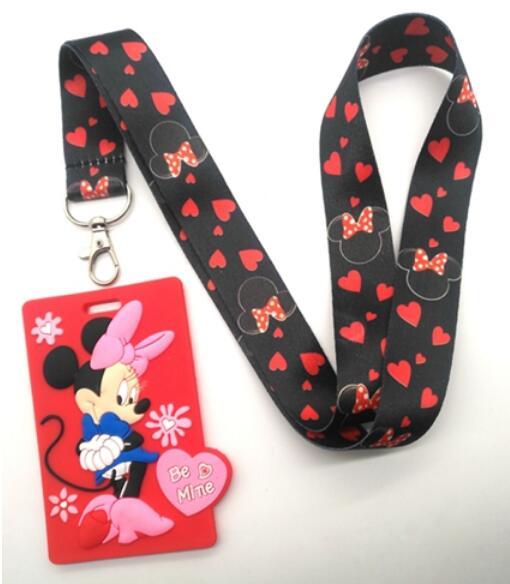 New Retail  1pcs  Cartoon  Minnie  Lanyard Key Chains Card Holders Bank Card Neck Strap Card Bus ID Holders M109