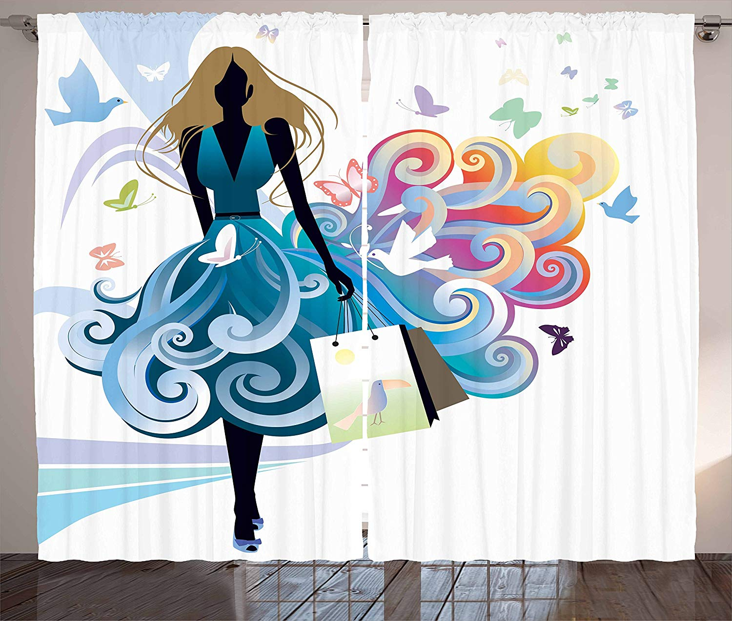 Contemporary Kitchen Curtains Young Woman Silhouette With Shopping Bags Fantasy Skirt Butterflies Fashion Window Decor Panel Curtains Aliexpress