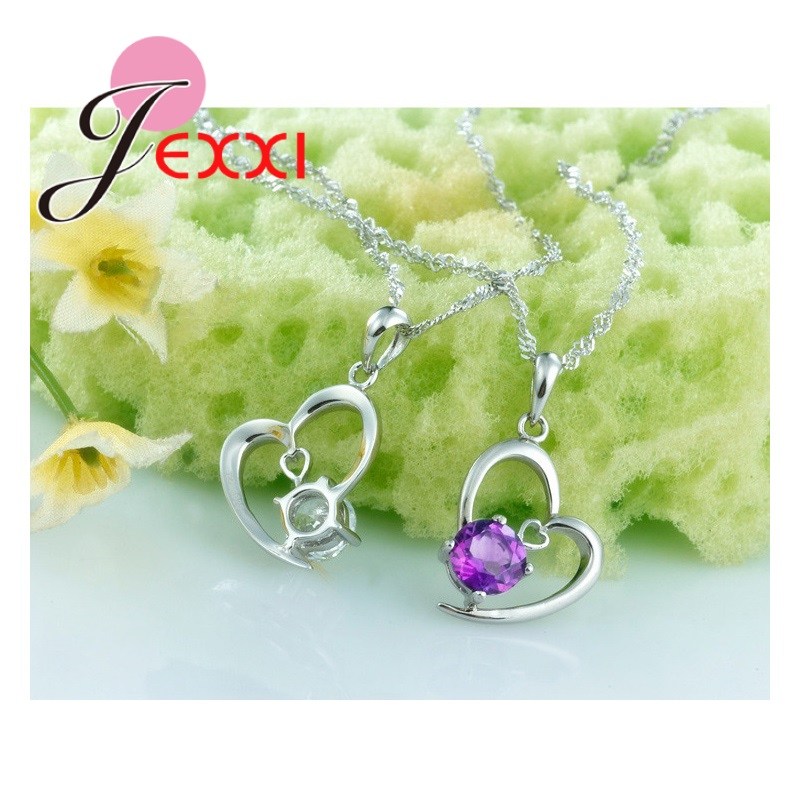 Real 925 Sterling Silver White Purple Crystals Heart Jewelry Sets for Women Wedding High Quality Necklace Earrings Set
