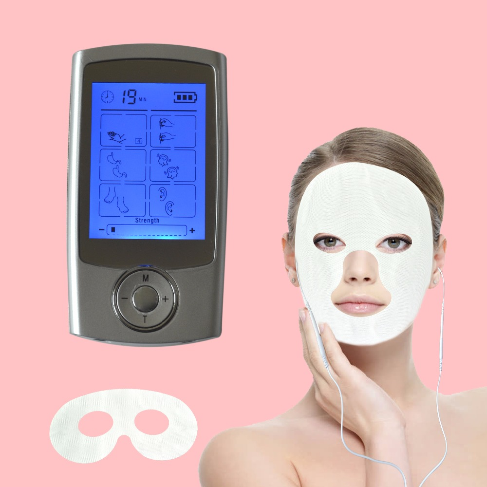16Modes Multifunction Physiotherapy TENS/EMS Body Massager Burn Fat Smoothing Pain Fatigue+Therapy Beauty Facial & Eye Mask Pad 16 modes multifunctional physiotherapy smoothing burn fat massager reduce pain hand grenade massage slippers therapy knee pads