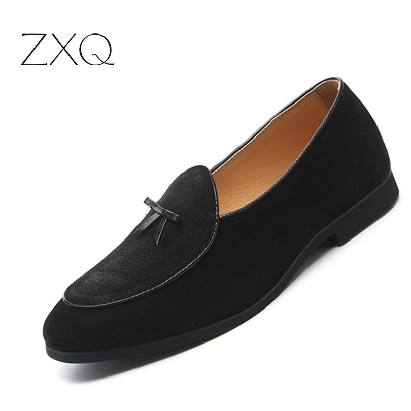ZXQ Genuine Leather Men Summer Loafers Simple Design Solid Color Men Flat Driving Casual Shoes Brand Comfortable Lazy Shoes simple men s casual shoes with criss cross and color block design