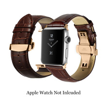 Black Brown Genuine Calf Watch Strap Deployment Clasp Stainless Steel Adapter 38mm 42mm for Iwatch for Leather Apple Watch Band стоимость