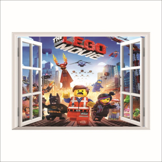 Lego Movie 3D Fake Window Wall Stickers Bedroom Background Cute Home  Decoration Removable Waterproof Kids Room