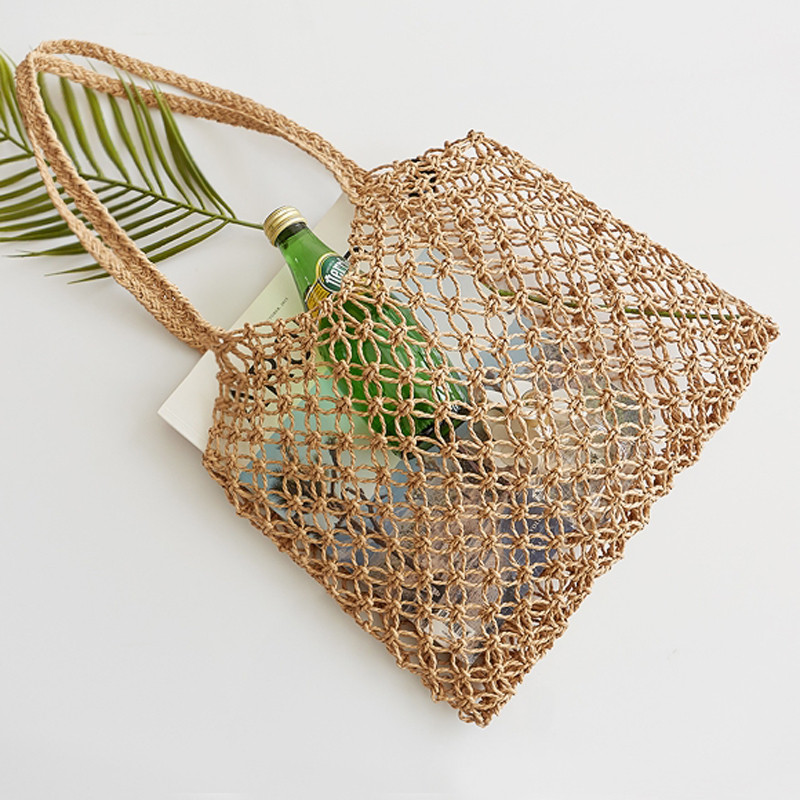 New hand-woven hollowwork straw bag paper rope grid without lining woven beach