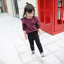 New Autumn Spring Children Burst Kids Girls Petal Collar Kids Clothing Shirts Cotton Purple