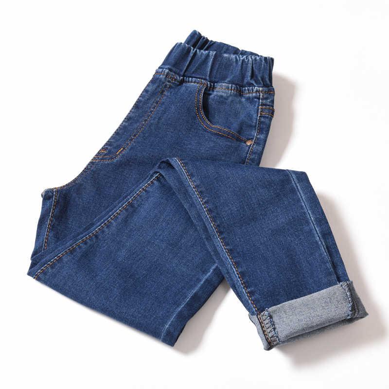 Jeans Mujer de cintura alta de talla grande flaco Negro Azul bolsillo mamá Jeans Denim lápiz pantalón 6XL